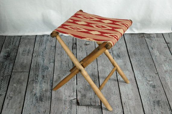 Enjoyable Vintage Wood Camp Stool With Maroon Red Ikat Fabric Folding Bralicious Painted Fabric Chair Ideas Braliciousco