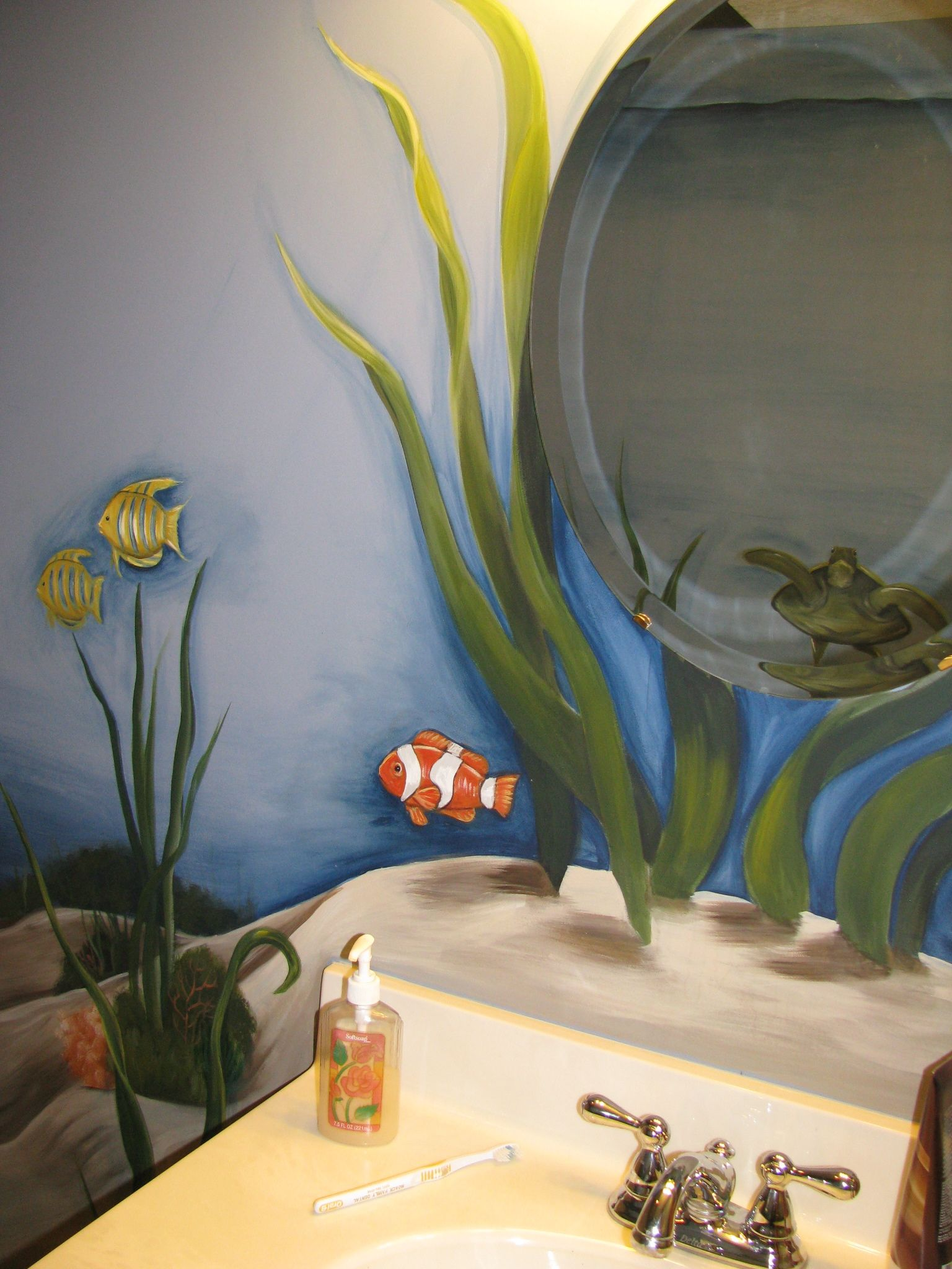 Underwater Bathroom (See the turtle reflection in the mirror)
