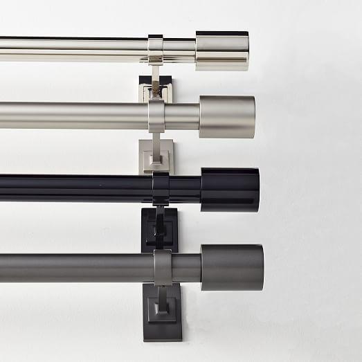 Oversized Adjustable Metal Rod Polished Nickel Modern Curtain