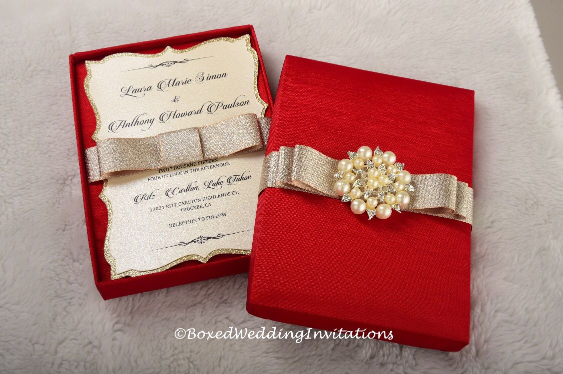 Red and gold boxed wedding invitation. See more at www ...