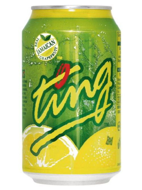 Ting - a refreshing carbonated, grapefruit soft drink from Jamaica. Ice, rum, ting, slice of lime. Bottoms up!