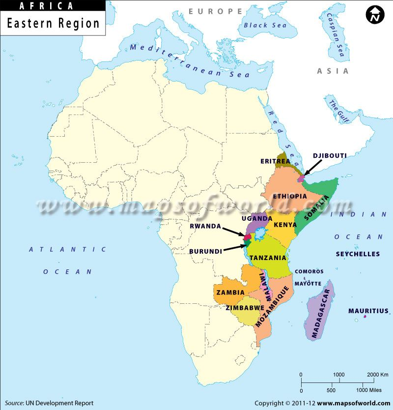 Map East Africa Map shows international boundary of Eastern African nations