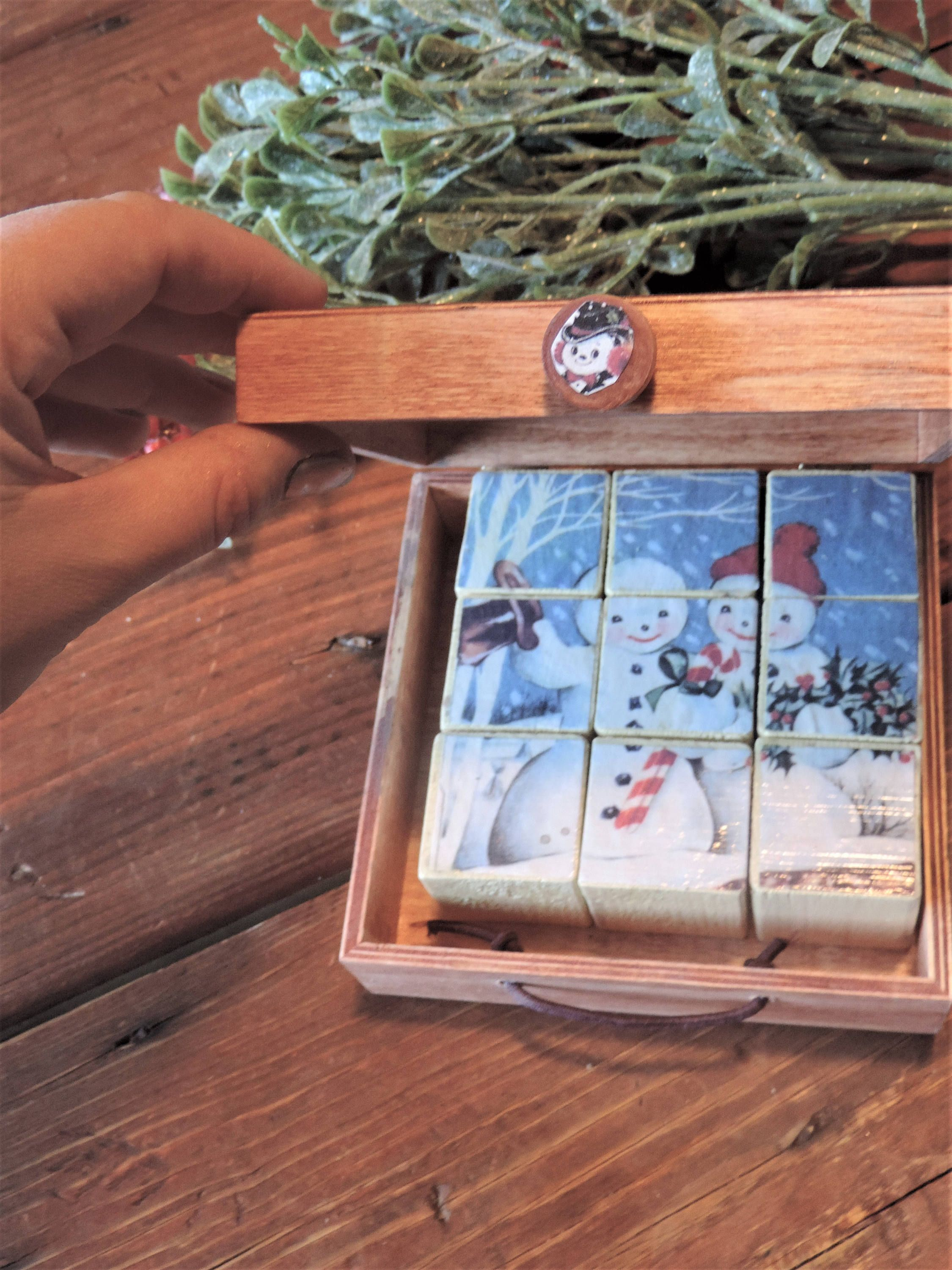 READY TO SHIP Puzzle Block set of 9 in box,vintage style snowman ...