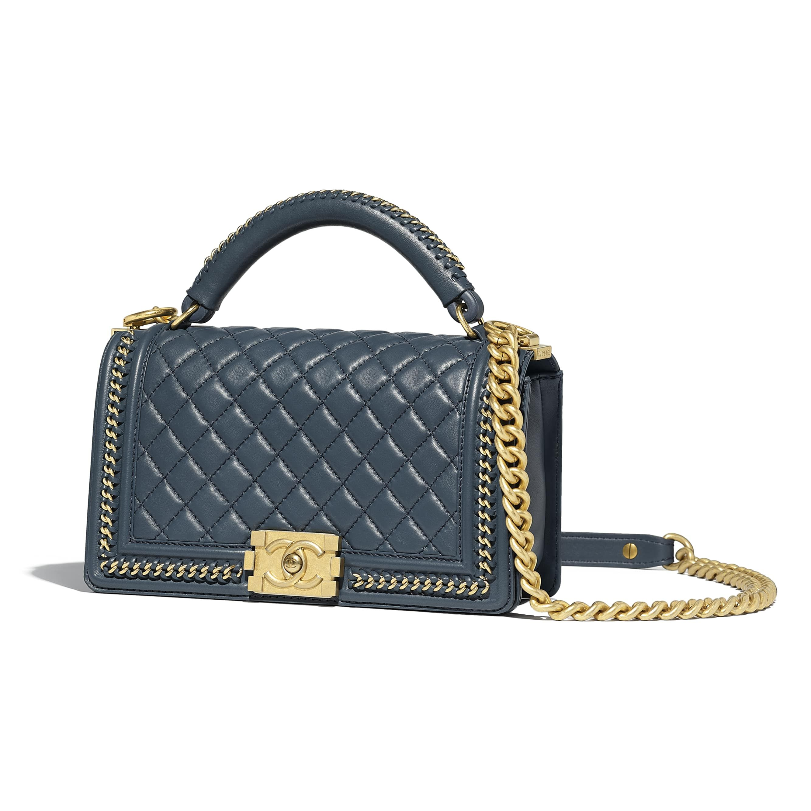 8dceef337a3c Calfskin   Gold-Tone Metal Blue BOY CHANEL Flap Bag with Handle ...