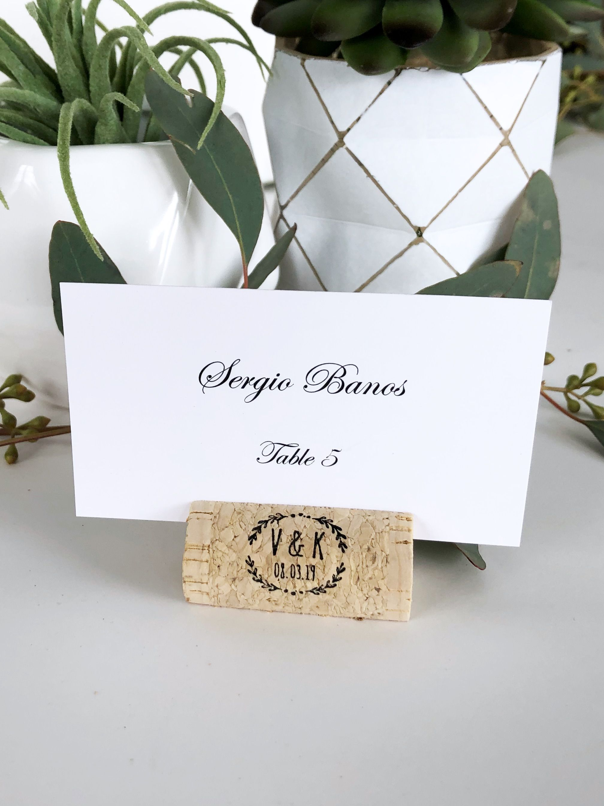Wine Cork Place Card Holder Escort Card Holder Personalized Wine