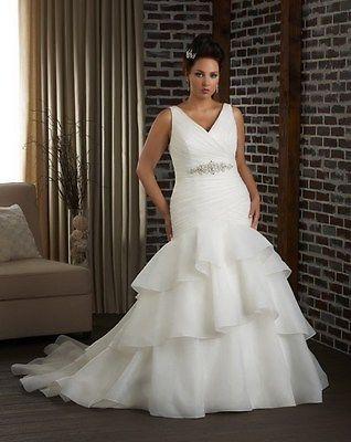 Mermaid Y V Neck Wedding Dress Bridal Gown Custom Plus Size 16 18 20 22 24