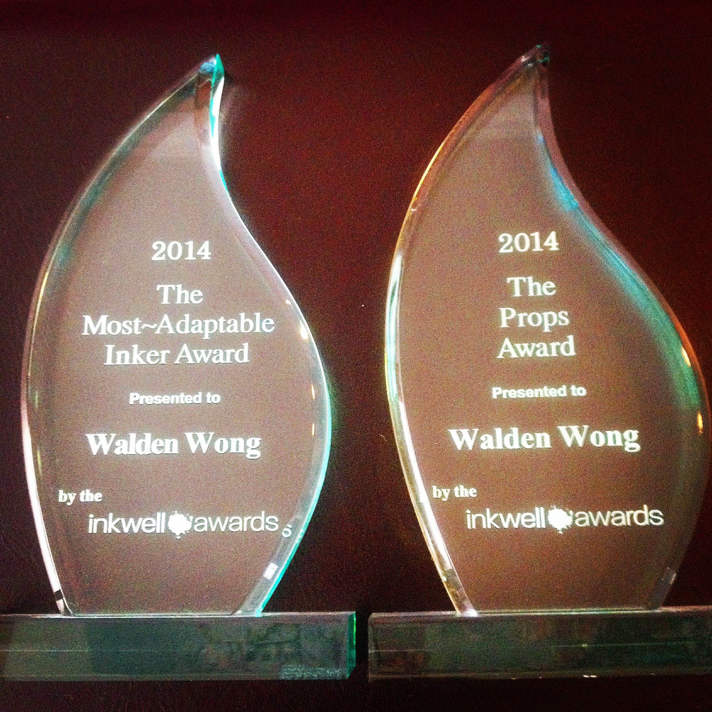 The two awards I picked up at Heroes Con from the Inkwell Awards.