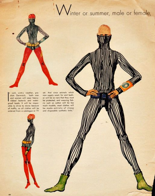 """Fashion for the 70's  Rudi Gernreich Predictions from  Jan 1, 1970 Life Magazine FASHION PREDICTION OF THE FUTURE FROM 1970--FOOD FOR THOUGHT--THOUGH YOU WOULDN'T DARE EAT ANYTHING IF YOU HAD TO WEAR THESE EVERYDAY """"FASHION PREDICTIONS OF THE FUTURE"""" . LINK=>ARTICLE"""