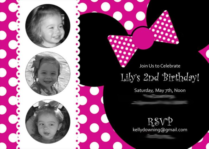cute minnie mouse 2nd birthday invitation template girls second, Birthday invitations