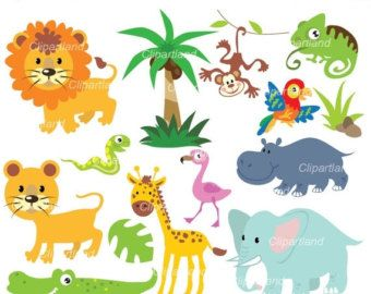 Instant Download Jungle Animal Clipart Girly Jungle Clip Etsy Clip Art Etsy Banner Jungle Animals