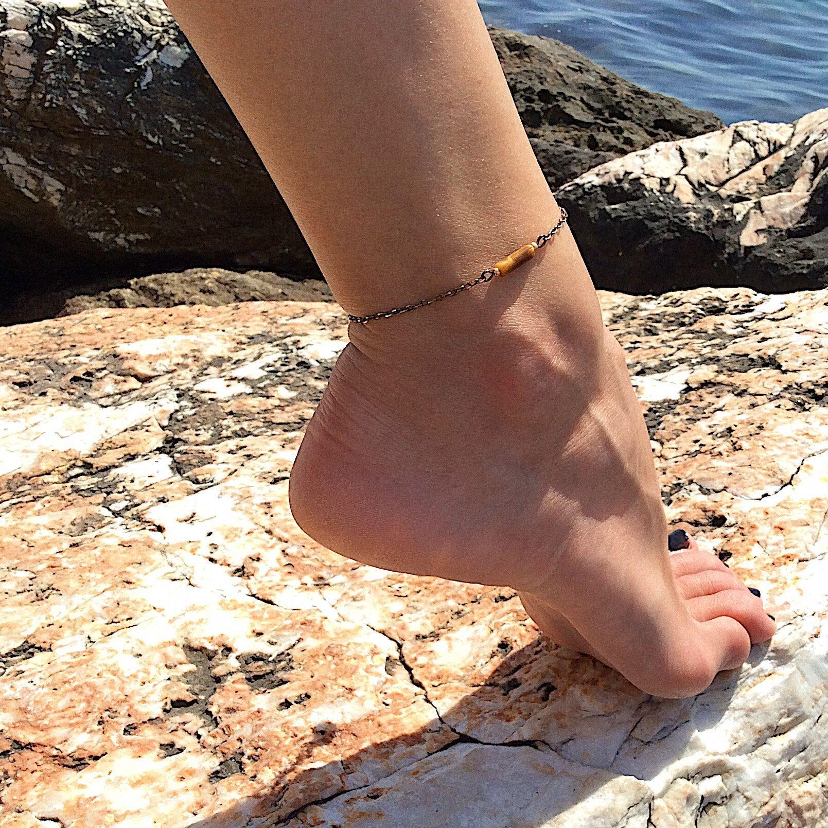 "Smoke Stretch Anklet Ankle Bracelet 10/"" Black Diamond"