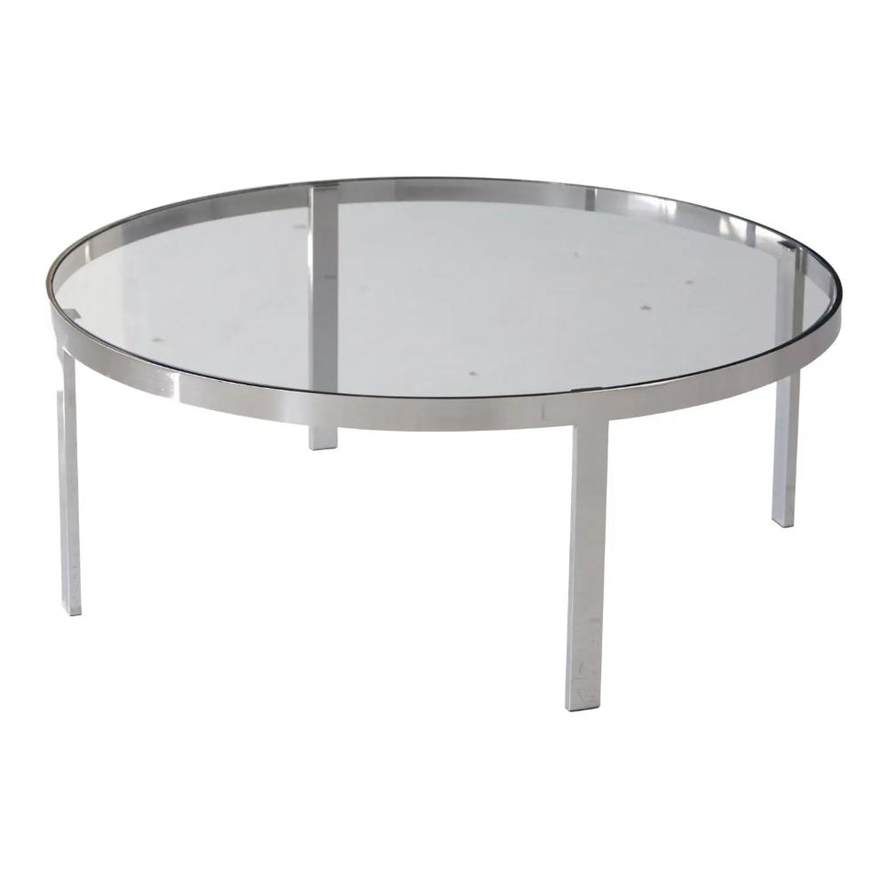 1970s Mid Century Modern Milo Baughman Round Chrome And Glass Coffee Table Chairish Coffee Table Glass Coffee Table Glass Table [ png ]