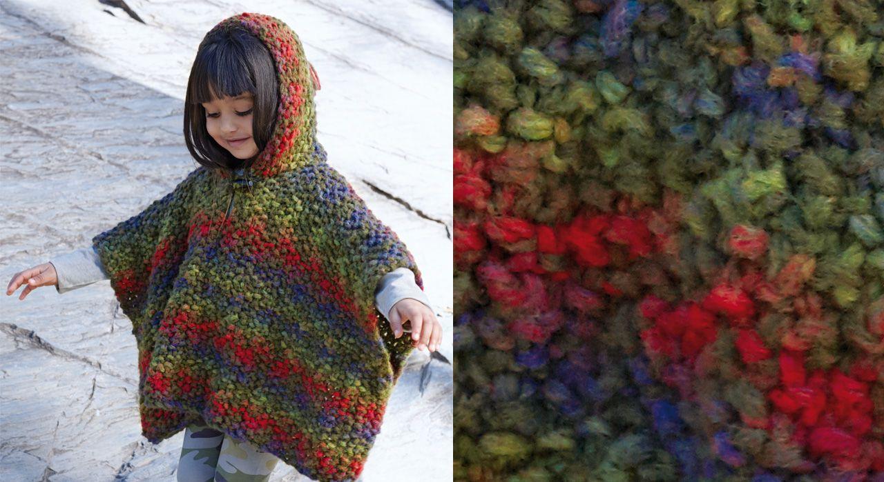 c0e63e6cb642 Inspiré du petit chaperon rouge, ce joli poncho est tricoté au point de riz  en
