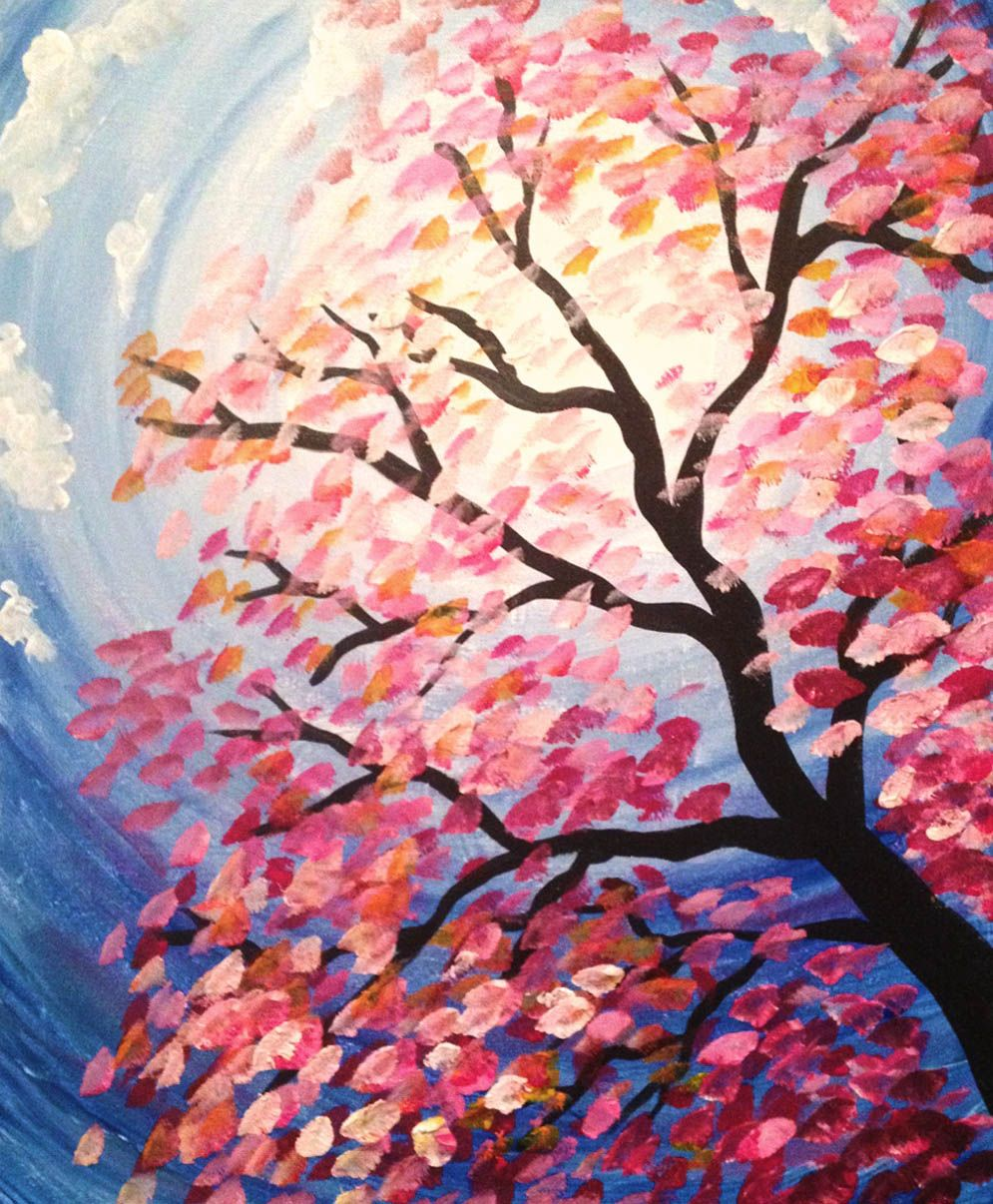 Spring Tree Paint Tyme In South Jersey Paint And Sip Painting Www Painttyme Com Kids Canvas Painting Small Canvas Paintings Spring Painting
