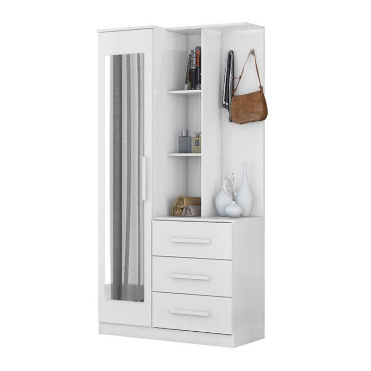 Armario Multiuso Comoda Com Espelho Brisa Branco Demobile