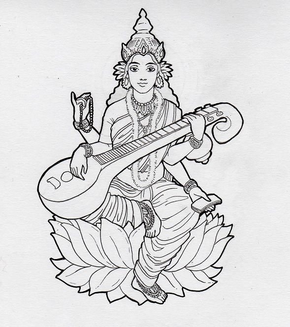 Saraswati - Hindu goddess of learning and the arts. To be coloured ...