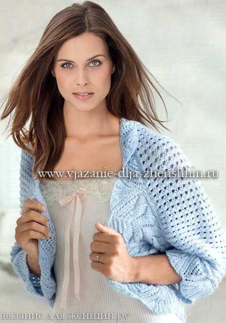 красивое болеро спицами плетем дрехивязаная одеждаstricken