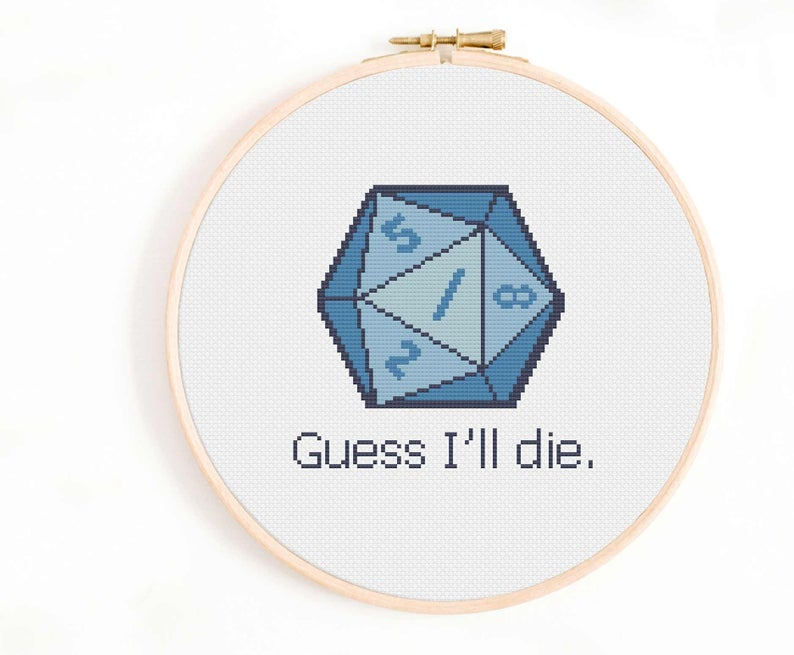 Photo of Dungeons and Dragons Cross Stitch Pattern – D20 Cross Stitch Pattern – Guess I'll die – Roll a D20.