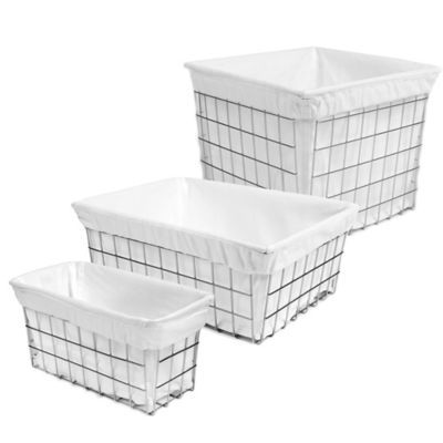 Wire Basket With Cotton Liner   BedBathandBeyond.com