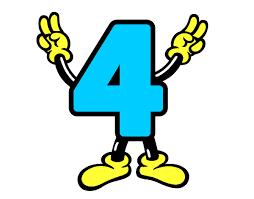 resultado de imagen para dibujo animado con numero 4 decoracion