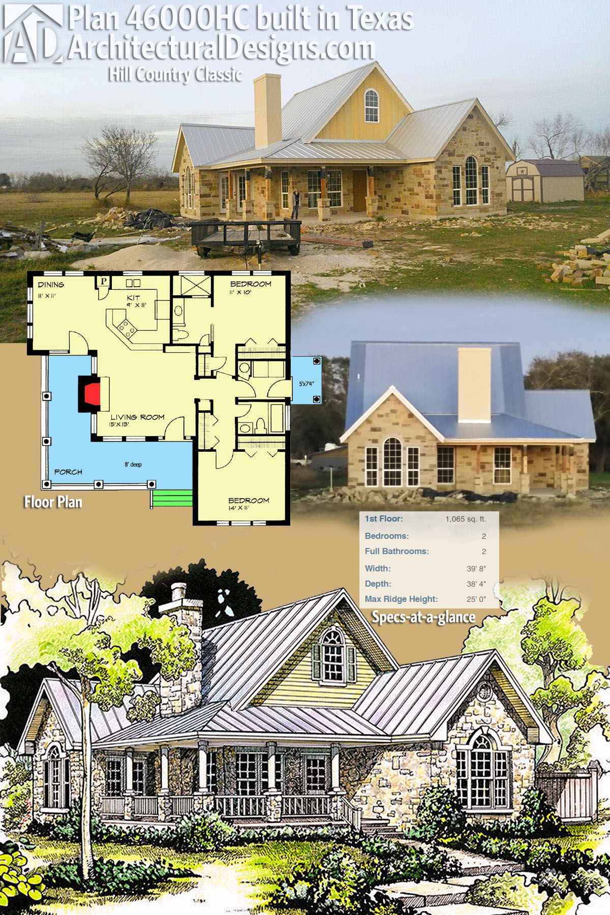 Architectural designs 2 bed hill country house plan 46000hc client built in texas is