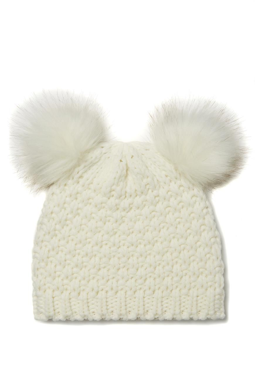 White knitted beanie with 2 faux fur pom poms to make you look like a  little koala b0e1962be