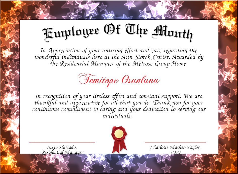 employe of the month certificate