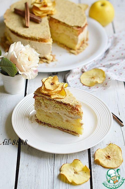 Яблочный торт с карамельным баварским муссом, пошаговый 76