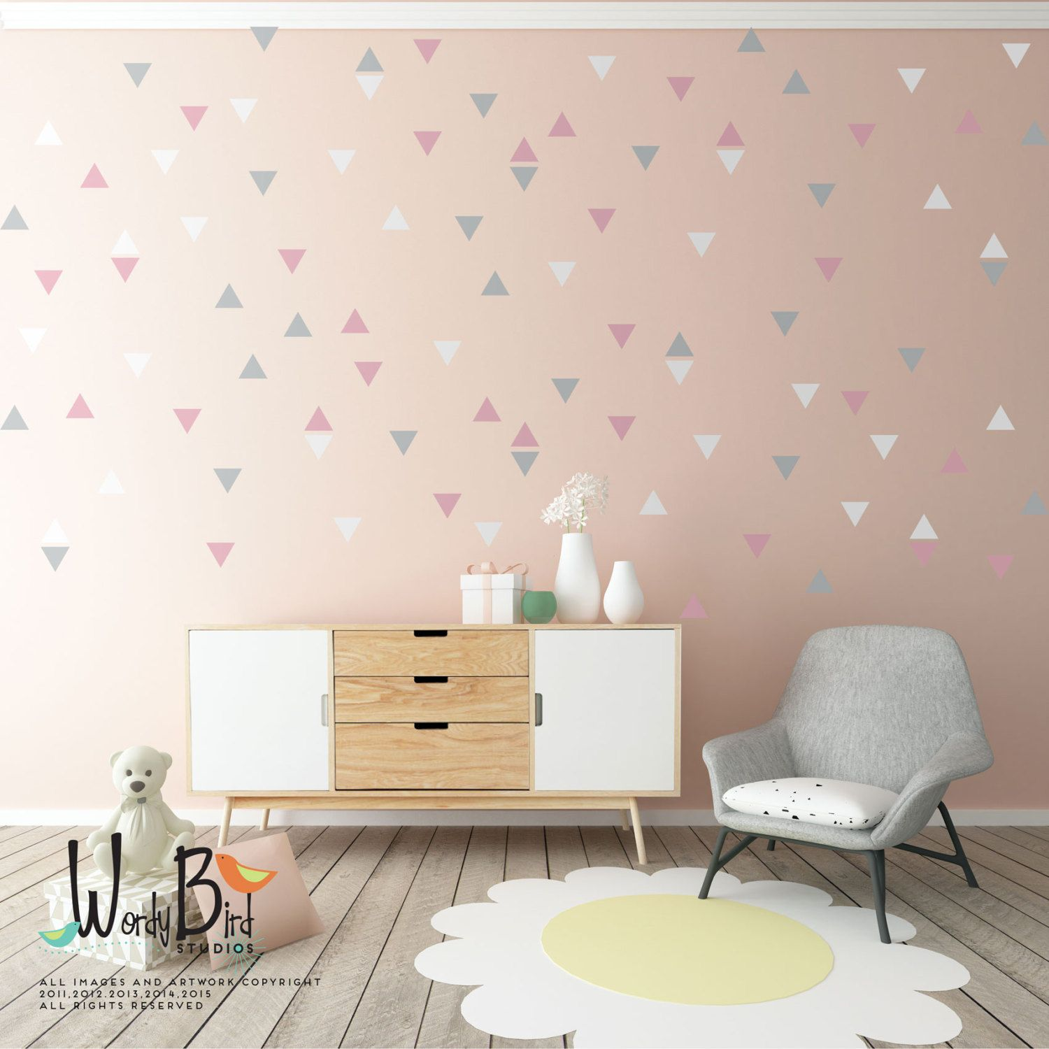 Triangle Wall Decals Baby Nursery Wall Decor Gold Triangle