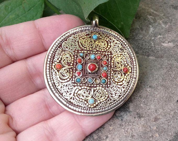 Inlay Pendants - Tibetan Jewelry, Vintage Jewelry, Turquoise, Coral