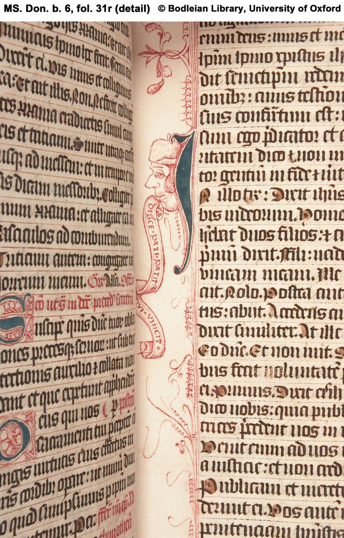 Illuminated Manuscript Fol 31r Detail Penwork Male Head With Inscribed Scroll Illuminated Manuscript Medieval Manuscript Medieval