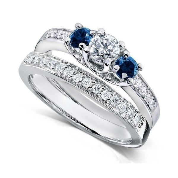 Dazzling Blue Sapphire Wedding Band Sets With Engagement Ring Set Round Cut 2 Piece