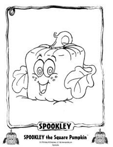 Spookly The Square Pumpkin coloring and activity sheets for