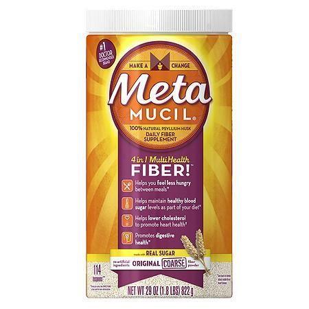 Metamucil 4 In 1 Psyllium Fiber Supplement Powder With Coarse Real