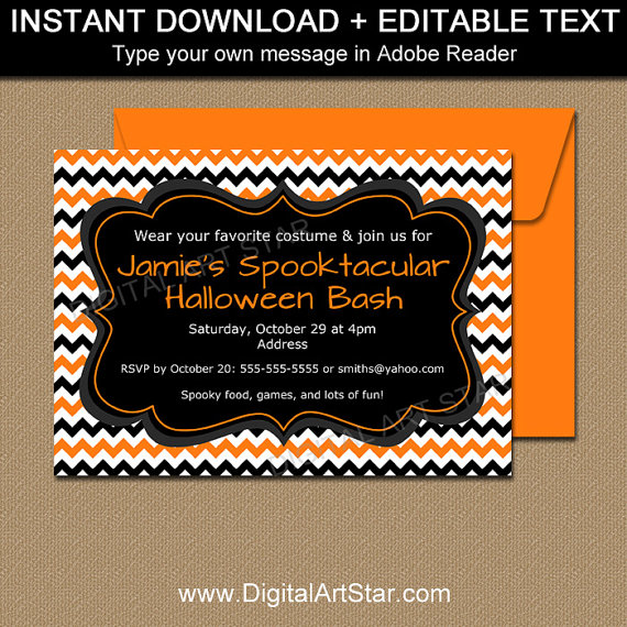 Diy Halloween Invitation Template By Digitalartstar  Halloween