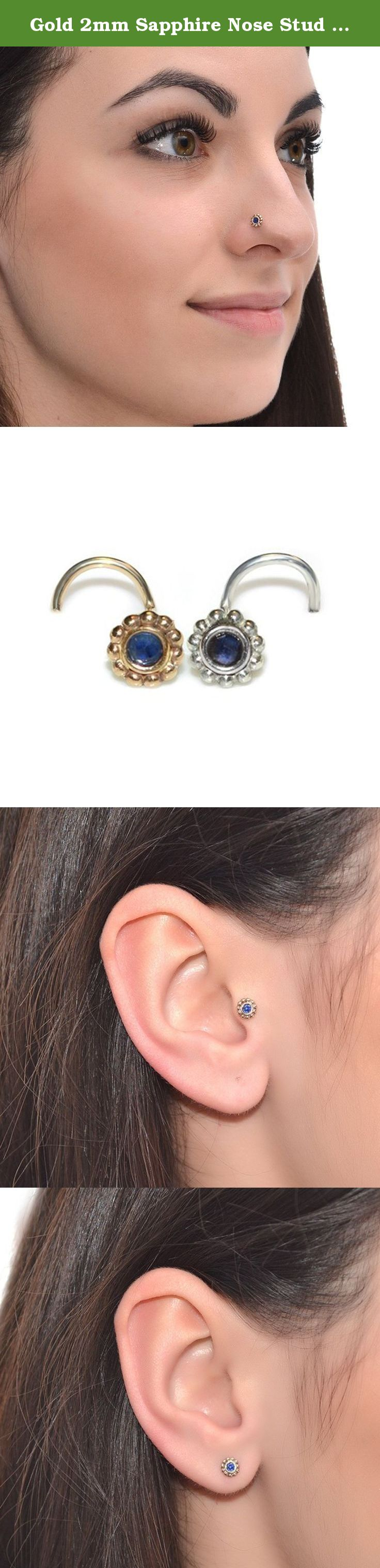 Nose piercing post  Gold mm Sapphire Nose Stud g  Tragus Stud Helix Earring