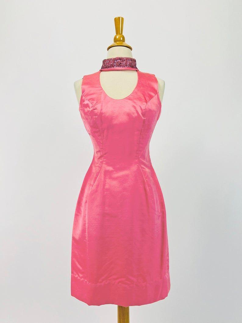 60s Lillie Rubin Silk Cocktail Dress, Pinup Dress, Party Dress, Backless Dress, Bombshell Dress, Bubblegum Pink Dress, XS Size 0 2 US 4 6 UK
