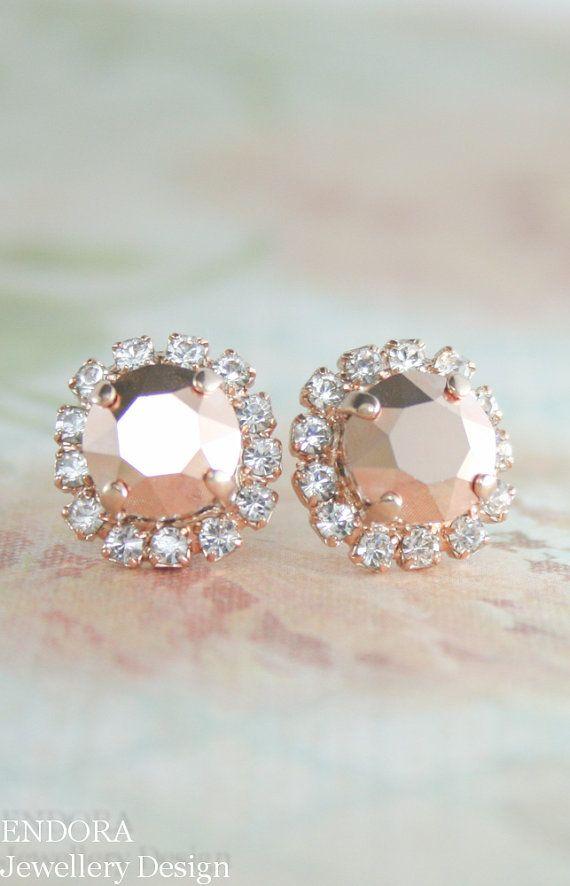 Rose Gold Earringswarovski Crystal By Endorajewellery Stud