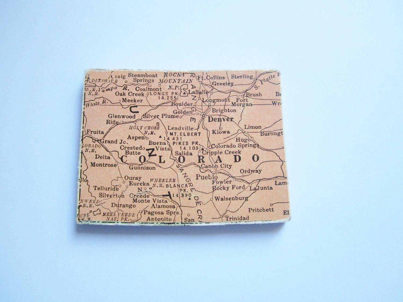 State of colorado, vintage puzzle piece, magnet