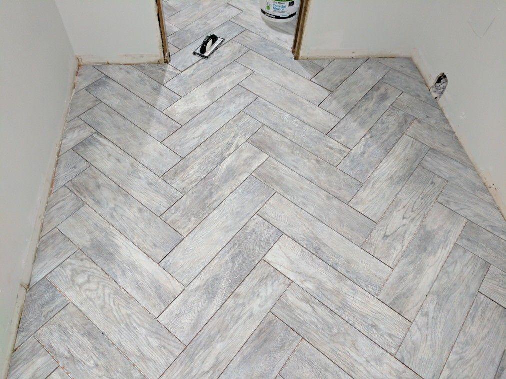 Dapple Grey Wood Look Herringbone Tile Wood Tile Bathroom Floor Wood Tile Bathroom Grey Wood Tile