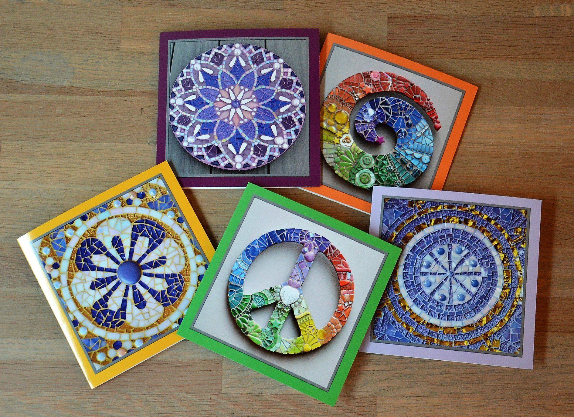 Greeting Cards Mosaic Design Set Of 5 Mosaic Designs Greeting Cards Mosaic