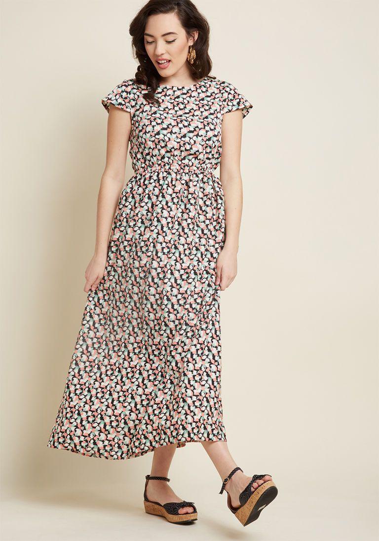 ef06dcbb86 Compania Fantastica Pure Perk Maxi Dress in Brushstrokes in L - Cap A-line  by Compania Fantastica from ModCloth