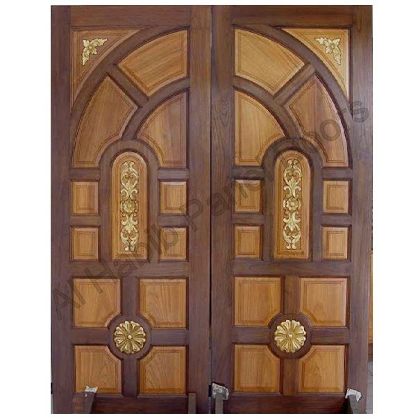 Ash solid wood main double door hpd414 main doors al for Indian main double door designs