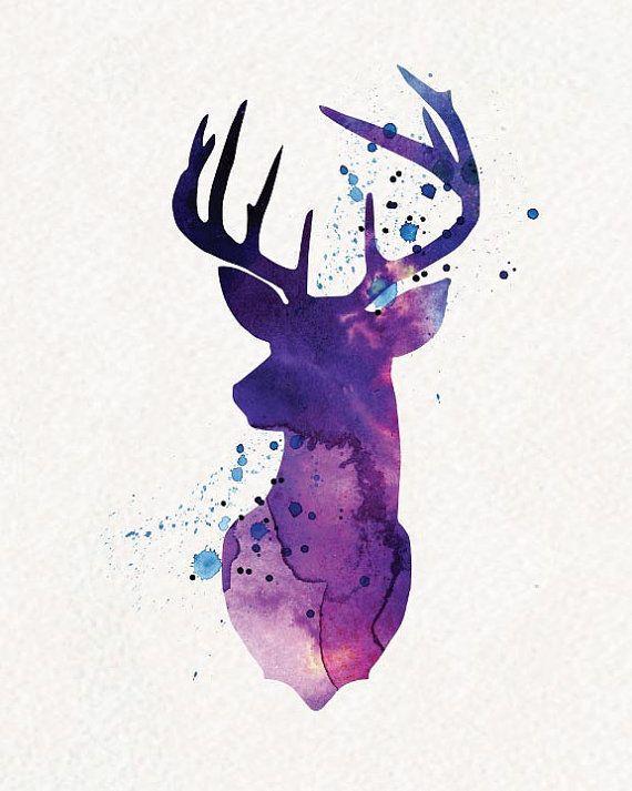 Purple Deer Watercolor Painting Wall Art von watercolormagazine