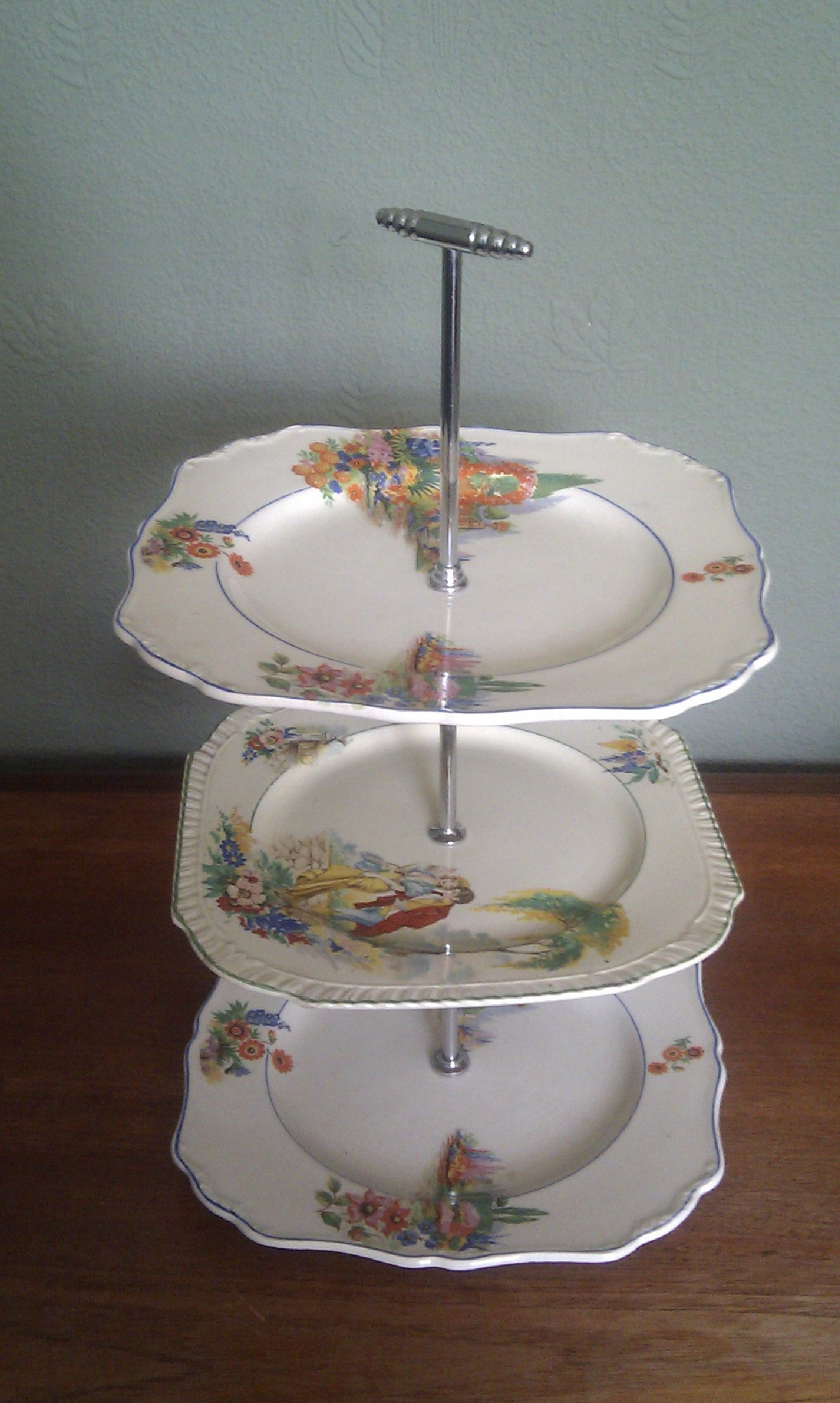 Eclectic 3 tier vintage cake stand 2 layers are meakin