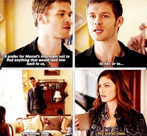 """""""I'd prefer for Marcel's informant not to find anything that would lead him back to us.. to her, or to... you know, that""""  .... """"you are all class""""  