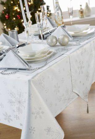 Amazon Com Christmas Snowflake White Silver 6 8 Place Rectangular Tablecloth 70 X 90 Christmas Table Cloth Table Cloth Decorations Christmas Table