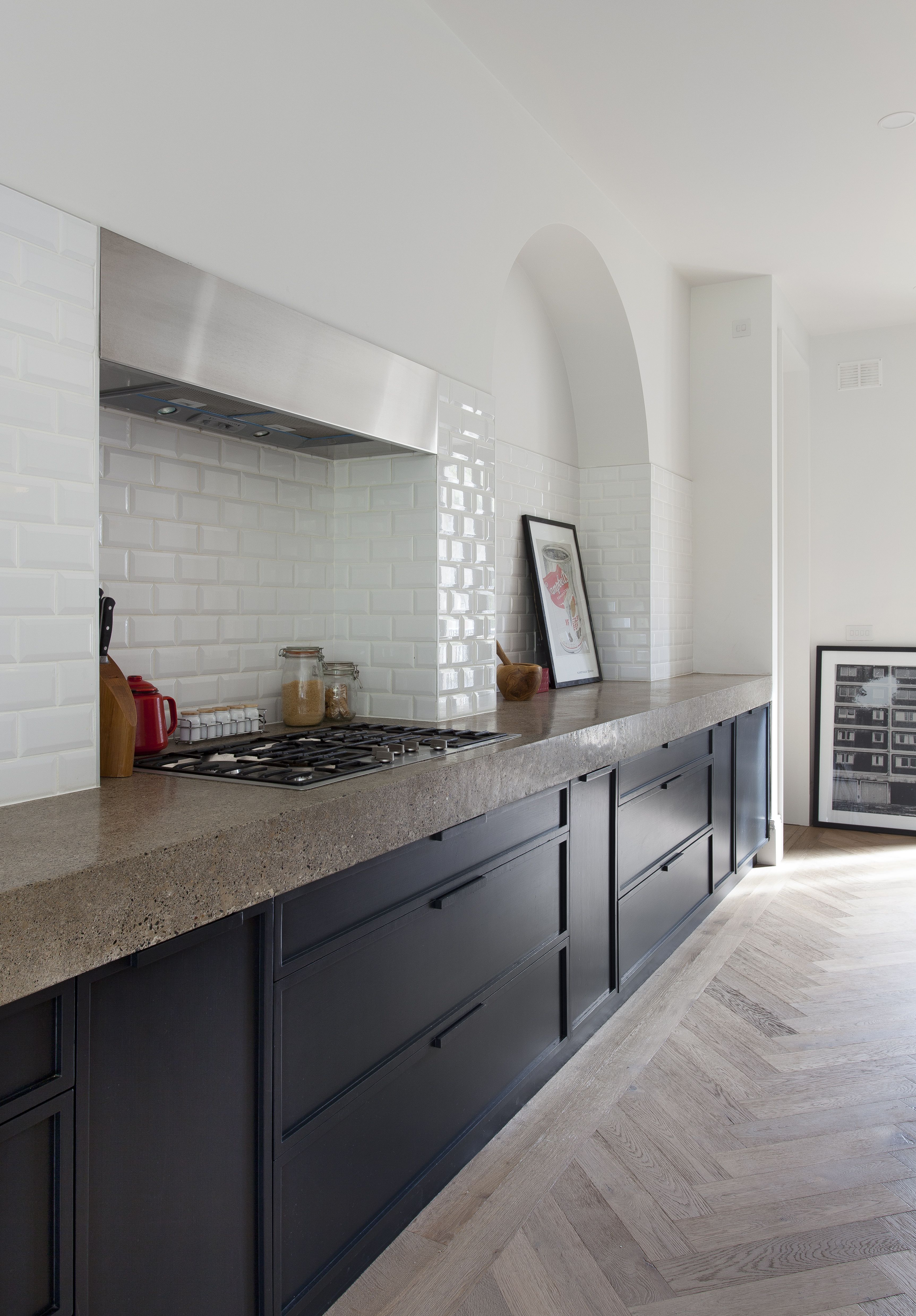 Subway Tiles and a Herringbone Floor Subway tile, White