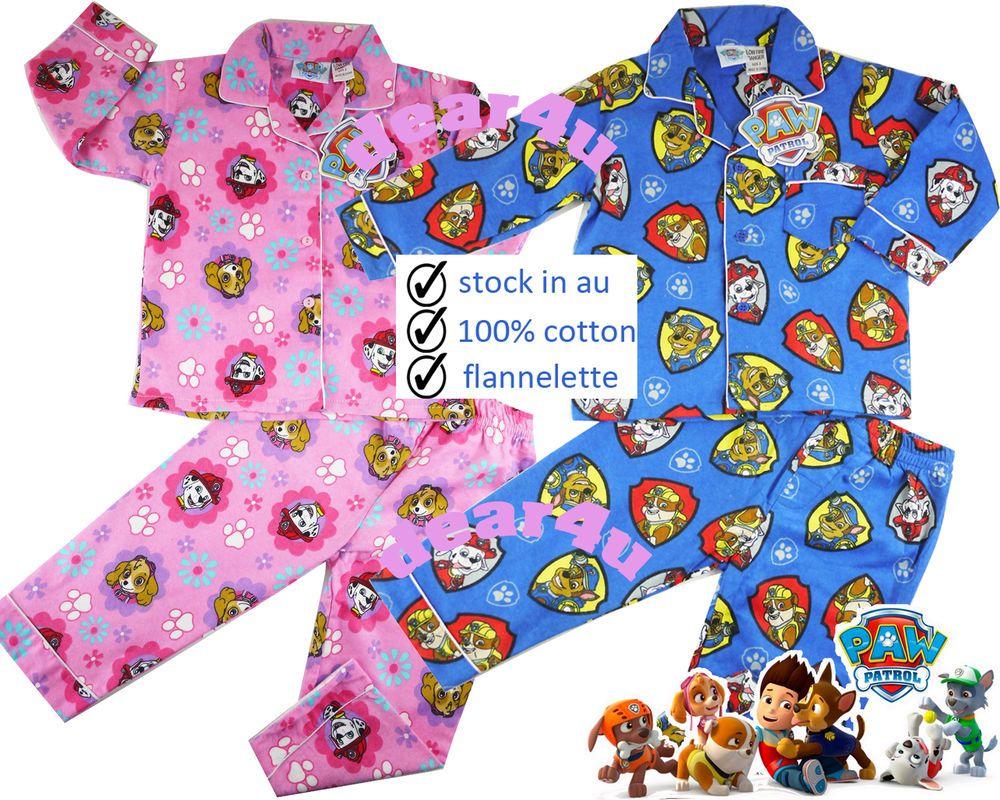 Paw Patrol boys girls flannelette pjs pyjamas flannel winter ...