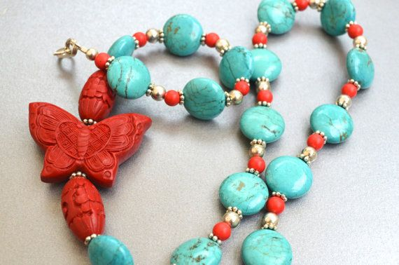 Cinnabar Red and Turquoise Butterfly Beauty by loganberrybeads